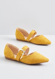 There's certainly more to these Mary Jane flats than just their gold buckles such as pointed toes and a fauxsuede finish with a mustard yellow hue but the bold closures totally seal the deal! A ModCloth namesake label pair with wide width options - # Women's Shoes, Me Too Shoes, Shoe Boots, Flat Shoes, Shoes Sneakers, Cute Shoes Flats, Shoes Style, Shoes Men, Loafer Shoes