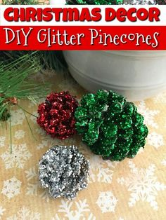 One of my favorite memories of winter and Christmas are making pine cone crafts and making pine cone Christmas decorations, like these DIY glitter pinecones.