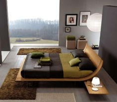 This modern bed design from Usona is similar to the Grecian Kline, a bed and reclining couch. The shape is the same but simplified with the traditional legs and volute being shrunken to the point where they are not seen. Contemporary Interior Design, Contemporary Bedroom, Modern Bedroom, Contemporary Furniture, Modern Beds, Modern Design, Contemporary Style, Natural Bedroom, Bedroom Color Schemes