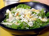 arugula salad with pear, blue cheese, and apricot vinaigrette. i might try this substituting roasted beets and feta too.
