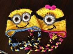 Child size Minion Character Hat Earflap or Beanie on Etsy, $25.00