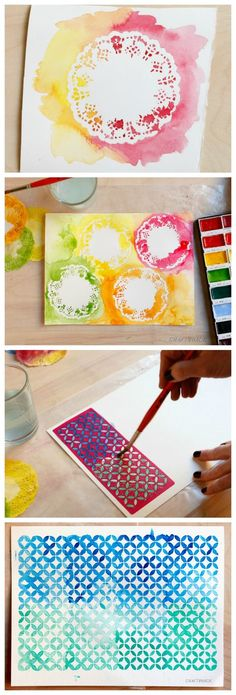 Watercolor Techniques: Playing With Stencils and Doilies (Doilies!) Watercolor Techniques: Playing With Stencils and Doilies (Doilies! Watercolor Techniques, Art Techniques, Art For Kids, Crafts For Kids, Diy Crafts, Process Art, Preschool Art, Art Classroom, Art Club