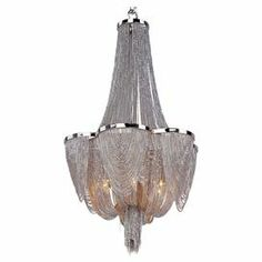 "Love - Over tub or in bedroom 6-light chandelier with cascading chains and a polished nickel finish.   Product: ChandelierConstruction Material: Metal and glassColor: Polished nickelFeatures: Jewelry chain accentsAccommodates: (6) 60 Watt bulbs - not includedDimensions: 22"" H x 14"" Diameter"