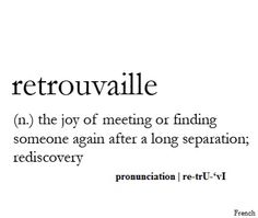 Retrouvaille - the joy of meeting or finding someone again after a long seperation; rediscovery