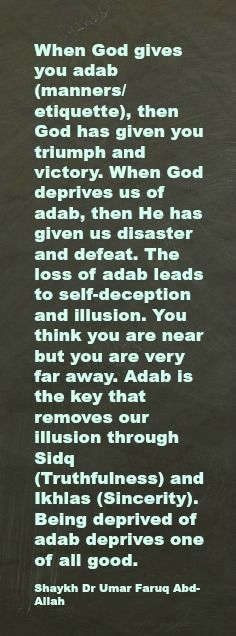 When God gives you adab (manners/etiquette), then God has given you triumph and victory. When God deprives us of adab, then He has given us disaster and defeat. The loss of adab leads to self-deception and illusion. You think you are near but you are very far away. Adab is the key that removes our illusion through Sidq (Truthfulness) and Ikhlas (Sincerity). Being deprived of adab deprives one of all good.   Shaykh Dr Umar Faruq Abd-Allah