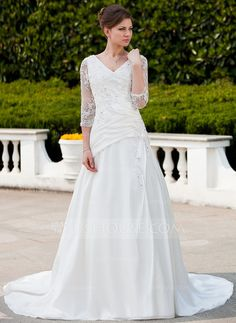Wedding Dresses - $182.99 - A-Line/Princess V-neck Chapel Train Taffeta Tulle Wedding Dress With Ruffle Lace Beading (002011625) http://jjshouse.com/A-Line-Princess-V-Neck-Chapel-Train-Taffeta-Tulle-Wedding-Dress-With-Ruffle-Lace-Beading-002011625-g11625