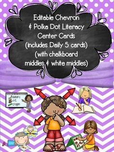 Editable Daily 5/Literacy Center Choice Cards with Chalkboard & White Centers