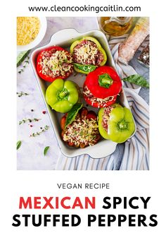 These delicious Vegan Mexican Spicy Stuffed Peppers are dairy free, meat free, gluten free, and easy! | vegan stuffed peppers | easy vegan stuffed peppers | lentils vegan stuffed peppers | healthy stuffed peppers | mexican stuffed peppers  #veganstuffedpeppersrecipe #mexicanstuffedpeppers Stuffed Peppers Healthy, Dairy Free, Gluten Free, Plant Based Eating, Vegan Dinner Recipes, Dinner Dishes, Lentils, Spicy, Mexican