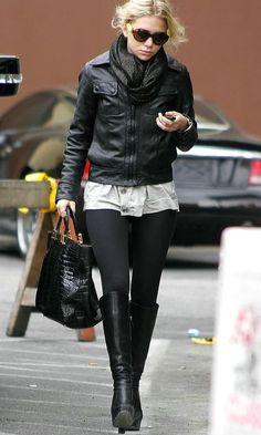 Olsens Anonymous Blog Style Fashion Ashley Olsen Twins Knee High Balenciaga Boots Round Sunglasses Scarf Leather Jacket Leggings Croc Fendi Bag