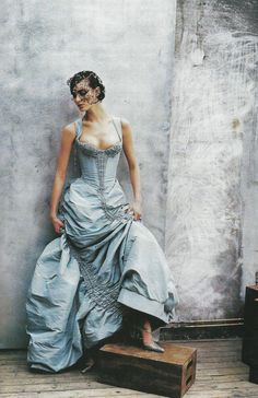 Christian Lacroix haute couture, photographed by Peter Lindbergh for Vogue US, April 1997. Model: Shalom Harlow.