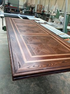 Classic Oak Parquetry Dining Table With Lighter and Darker Border Edges