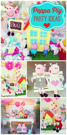 A colorful Peppa Pig girl birthday party with fantastic decorations and party table! See more party planning ideas at CatchMyParty.com!