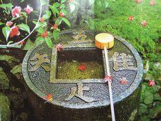 龍安寺 方丈の北側にあるつくばいで、水戸黄門でおなじみの徳川光圀の寄進と伝えられています。