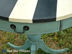 Blue Star Antiques: This Table's Better in Stripes  Annie Sloan Chalk Paint Provence, distressed and then waxed with clear wax and then dark wax.