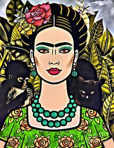 Frida Kahlo Artwork, Frida Art, Cartoon Sketches, Art Sketches, Freida Kahlo Paintings, Frida Kahlo Cartoon, Face Illustration, Illustrations, Self Portrait Art