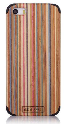 iCASEIT Wood iPhone Case - Genuinely Natural, Unique & Premium quality for iPhone 5 / 5S - Rainbow / Black