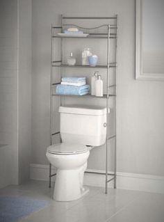 FYI: Bathroom Over Toilet Space Saver Storage Furniture Organizer Towel Shelf Nickel