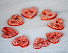 Red Heart Buttons The queen of Hearts handmade ceramic lace buttons. #buttons