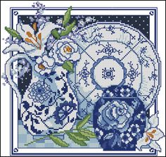 White and blue vases with lilies-cross-stitch pattern