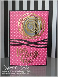 Stampin' Sacha - Stampin' Up! - Annual Catalogue 2016-2017 - Swirly Bird - Scribly Bird Thinlits - Layering Love - Pop of Pink Specialty DSP - Basic Black - Melon Mambo - Whisper White - Gold - Every Day Card - #stampin_sacha - #stampinup