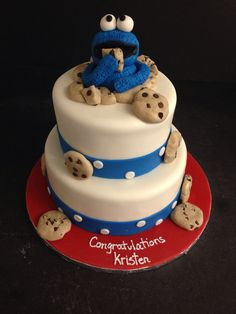 Baby shower Cookie Monster cake