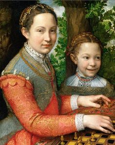 Sofonisba Anguissola, Portrait of Her Sisters  Playing Chess, 1555, Muzeum Narodowe, Poznań, Poland (detail)