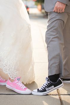 Pink Nashville Warehouse Wedding on WeddingWire Groom Converse, Converse Wedding Shoes, Wedding Sneakers, Groom Shoes, Converse Sneakers, Wedding Gallery, Wedding Pics, Dream Wedding, Wedding Ideas