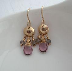 Pink Quartz and Labradorite 3 Drop Earrings- Pink Drop Earrings- Chandelier Earrings Pink Jewelry, Jewelry Gifts, Unique Jewelry, Jewelry Ideas, Jewlery, Pink Earrings, Drop Earrings, Western Earrings, Natural Stone Jewelry