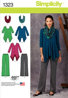 Misses' Knit Tunics, Pants and Infinity Scarf - SImplicity Pattern 1323