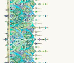 Jade and Aquamarine Art Deco Double Drop border print fabric by micklyn on Spoonflower - custom fabric