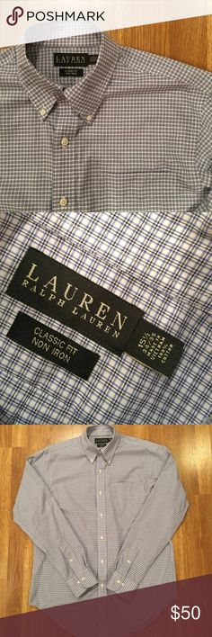 Men's Ralph Lauren Dress Shirt Great condition men's dress shirt from Ralph Lauren. This shirt has been worn a handful of times and never for very long, mainly just job interviews. It is classic fit, with a 15 1/2 neck and 34/35 sleeve. It is a black, white, blue check. Ralph Lauren Shirts Dress Shirts