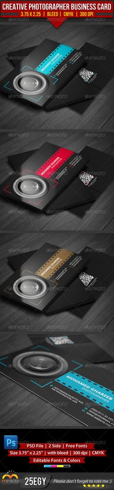 Creative Photographer Business Card :  ---------------------------------------------  check out this #creative #design #business_card just for 6$  http://graphicriver.net/item/creative-media-business-card-5-color-set/3563713?WT.ac=item_more_thumb_1=item_more_thumb_author=25EGY=25EGY