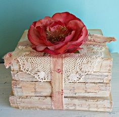 Rachel Ashwell Shabby Chic Inspired Coverless Vintage Book Bundle Stack Doily ROSES Anthropologie Wedding