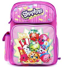 Shopkins 16 Large Roller Backpack NEW Girl Rolling Backpack Authentic