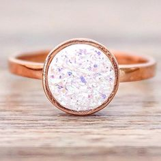 Rose Gold Druzy Ring || These are super popular this Valentines Day || Available in our 'Bohemian' Collection || www.indieandharper.com