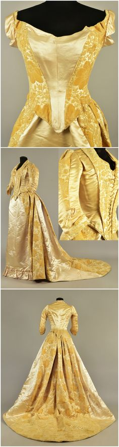 "Gown with two bodices, belonged to Queen Louise of Denmark, 1885. Pale gold and ivory velvet cut to cream satin with satin trim, front-lacing dinner bodice having 3/4 cuffed sleeve with bow detail, deep front and back points, sleeveless back-lacing ball bodice, trained skirt with self ruffle to the satin front panel, entire skirt hem backed with lace ruffle. Petersham label ""Mode Bazar, Gerson & Co. Berlin"". Helen Larson Historic Fashion Collection, via Whitaker Auction. Victorian Gown, Victorian Costume, Victorian Fashion, Vintage Fashion, Vintage Gowns, Vintage Outfits, Steampunk, Period Outfit, Fantasy Dress"