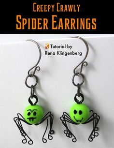 Creepy Crawly Spider Earrings - tutorial by Rena Klingenberg
