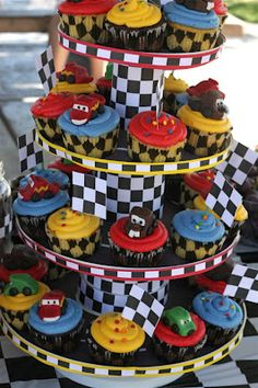 It was birthday time for my friend Melanie's little boy; and what boy wouldn't love a Cars themed birthday bash? Melanie went all out wi. Baby Boy Birthday Cake, First Birthday Party Themes, Race Car Birthday, Race Car Party, Cars Birthday Parties, Birthday Party Decorations, Birthday Bash, Disney Cars Party, Disney Cars Cake