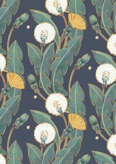 Art Inspiration: Beautiful Dandelion Pattern By Maria Khersonets via Behance. Art Inspiration: Beautiful Dandelion Pattern By Maria Khersonets via Behance. Hipster Vintage, Style Hipster, Textile Patterns, Textile Design, Print Patterns, Floral Patterns, Fabric Design, Floral Pattern Print, Paper Design