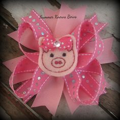 Pink Stacked Pig Boutique Bow With Feltie by SummerKnowsBows, $6.99