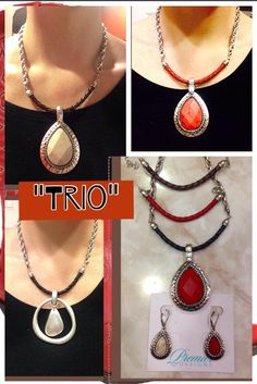 """Trio by Premier Designs. Trio comes with 3 replaceable leather strands: Brown, black and red. Plus a reversible red and marble-colored enhancer. Plus reversible earrings! You can also use other enhancers on it. Shown here with the """"Easy Living"""" enhancer. http://elanarogers.mypremierdesigns.com/"""