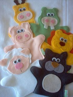 Felt Puppets, Felt Finger Puppets, Hand Puppets, Puppet Patterns, Felt Patterns, Kids Crafts, Felt Crafts, Fun Projects, Sewing Projects