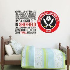 Official Licensed Football & Entertainment Wall Stickers - Sheffield United Bedroom Football Gifts - The Beautiful Game Sheffield United Football, Sheffield United Fc, Sheffield United Wallpaper, Mural Wall, Wall Art, Football Bedroom, Bedroom Furniture, Bedroom Decor, Entertainment Wall