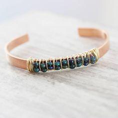 Black Opal Gemstone Cuff Bracelet