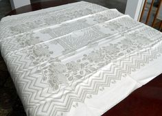"Damask Linen Tablecloth 49 x 49"" Vintage Roses, Butterflies, Chevrons Vintage…"