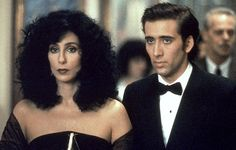 """MOONSTRUCK (1987)  Cosmo Castorini: """"I can't sleep any more. It's too much like death.""""   A thirty-something widow is swept off her feet by young baker Nicolas Cage...the only trouble is she's engaged to his brother.  They are just two of the characters living in the Italian-American neighbourhood of Brooklyn Heights whose romantic interaction is ascribed to lunar waxing and waning."""
