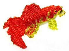 Bead artwork by Julia Turova. Gold Fish Pendant