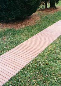 Wooden Decks, Walkways and Mats Wooden Pathway, Concrete Path, Brick Walkway, Front Walkway, Pallet Walkway, Walkway Ideas, Porch Ideas, Gravel Walkway, Outdoor Walkway