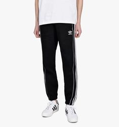 73ed70b45 New Adidas Mens Black White Pipe Three-Stripes Workout Sweatpants Size  Medium