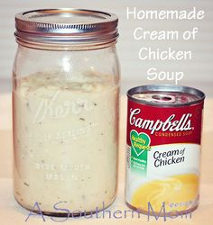 Homemade Cream of Chicken Soup. You CAN ditch the CAN! Homemade Cream of Chicken Soup. You CAN ditch the CAN! This is so much easier than you would think and the ingredients are SIMPLE! Chicken Soup Recipes, Cream Of Chicken Soup, Cream Soup, Cream Of Soup Mix Recipe, Chicken Stuffing, Chicken Dips, Breaded Chicken, Do It Yourself Food, Homemade Seasonings